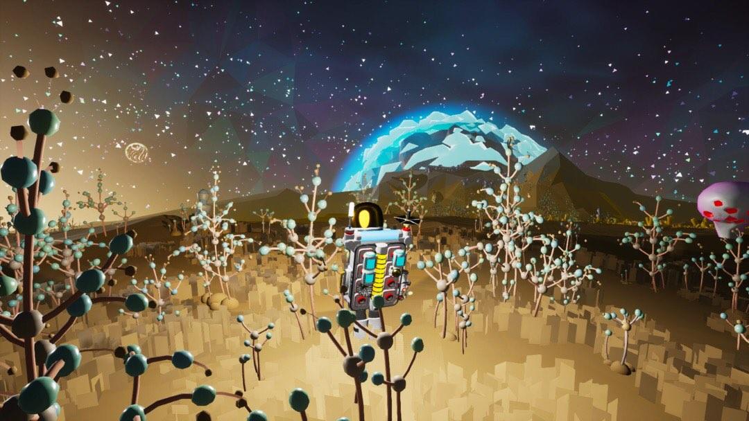 Ein Astronaut in einem Feld aus Gräsern.