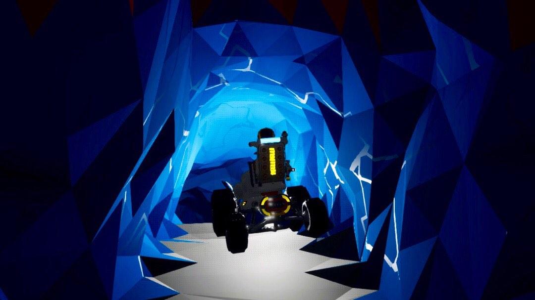Ein Traktor in einem Tunnel.