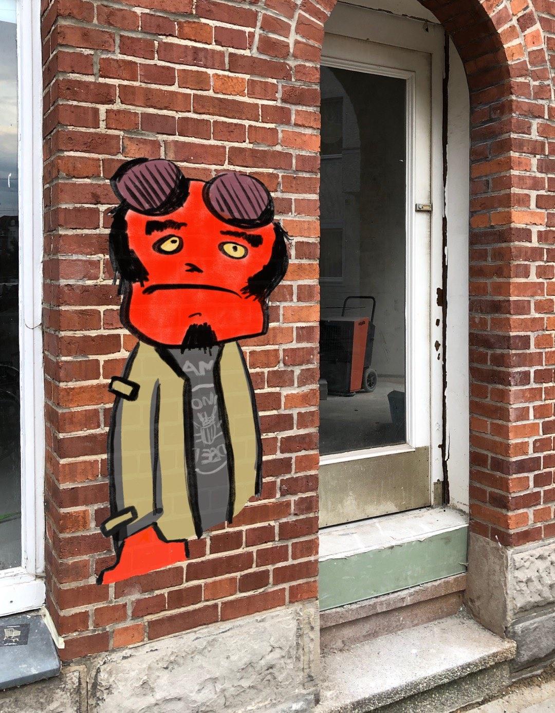 Digitale Hellboy Street Art auf einem Hauswandfoto