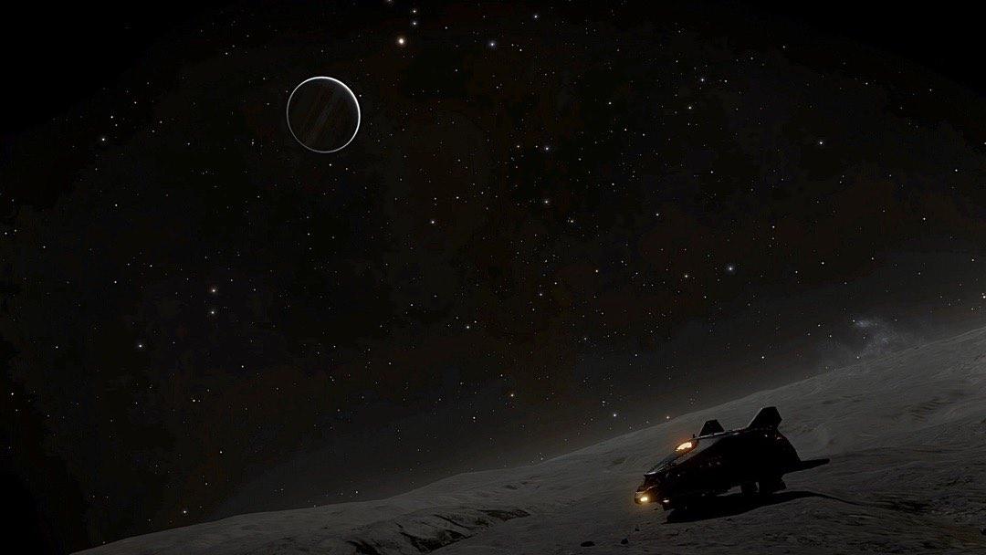 Jupiter aus der Sicht seines Mondes Ganymede im Spiel Elite Dangerous.