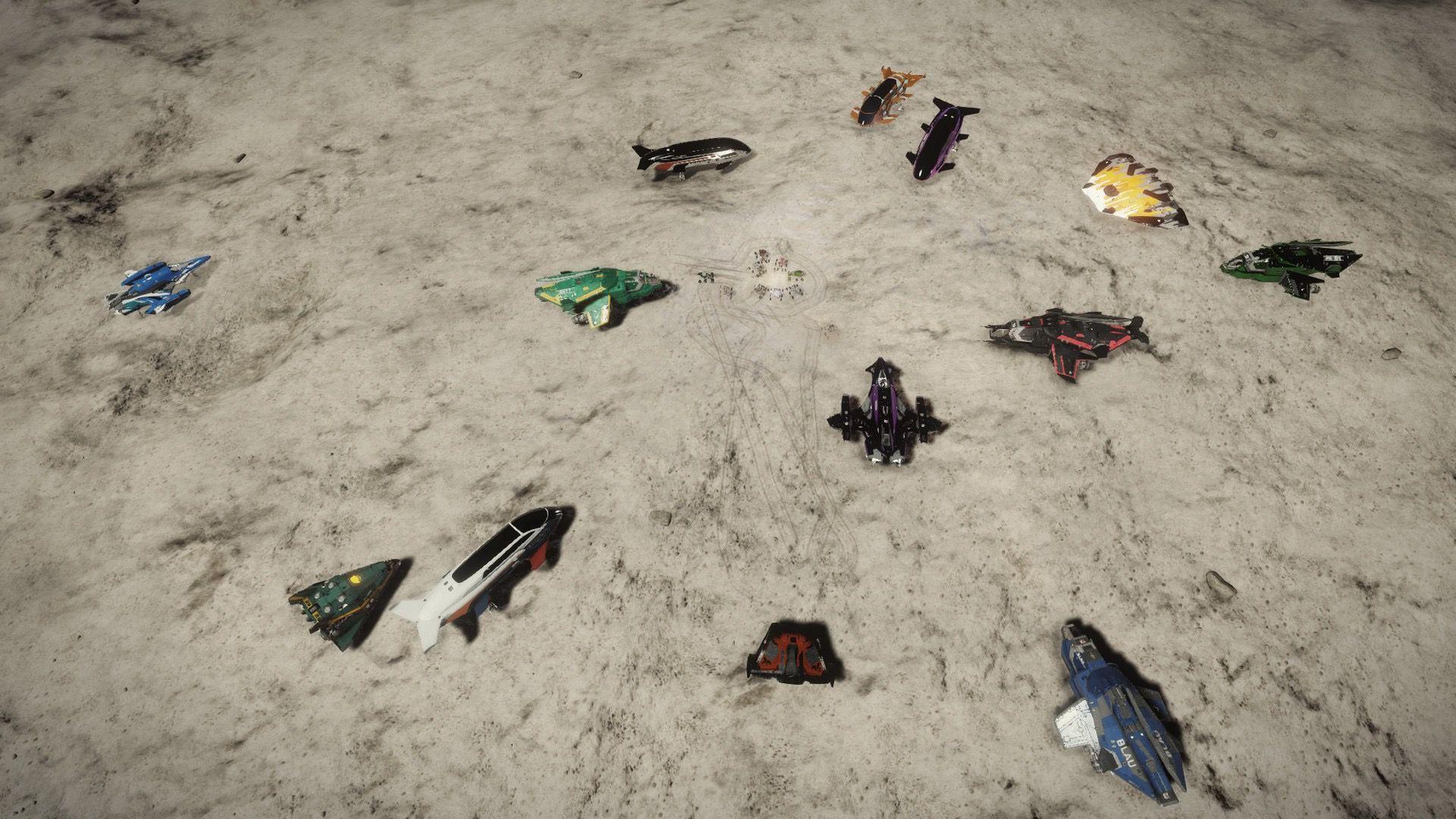 Raumschiffe vor dem Start, versammelt auf einem Felsbröckchen