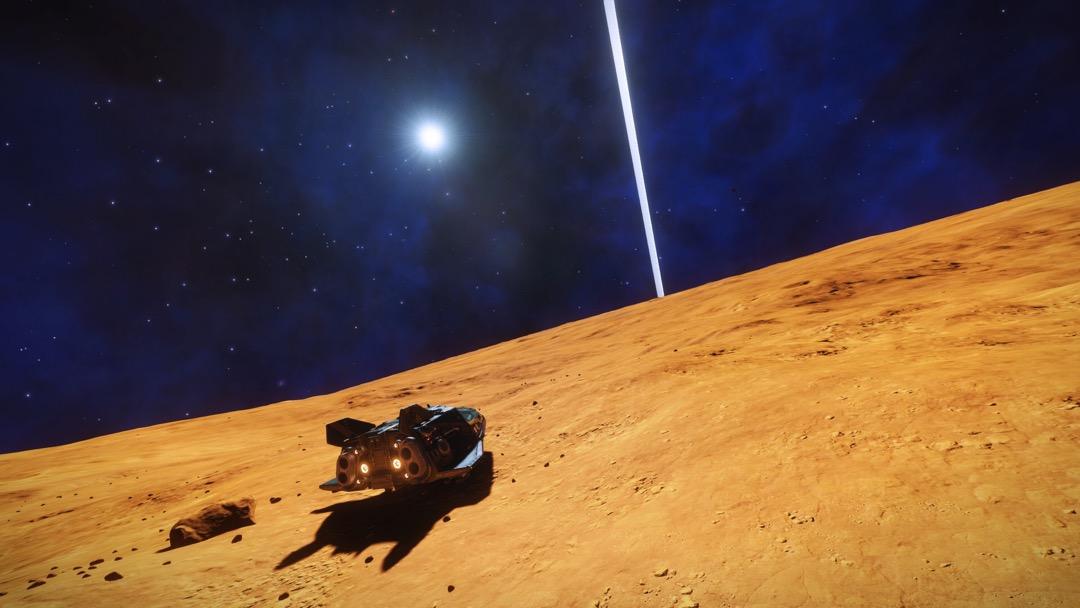 Ein karger Planet, ein Ring und ein Raumschiff
