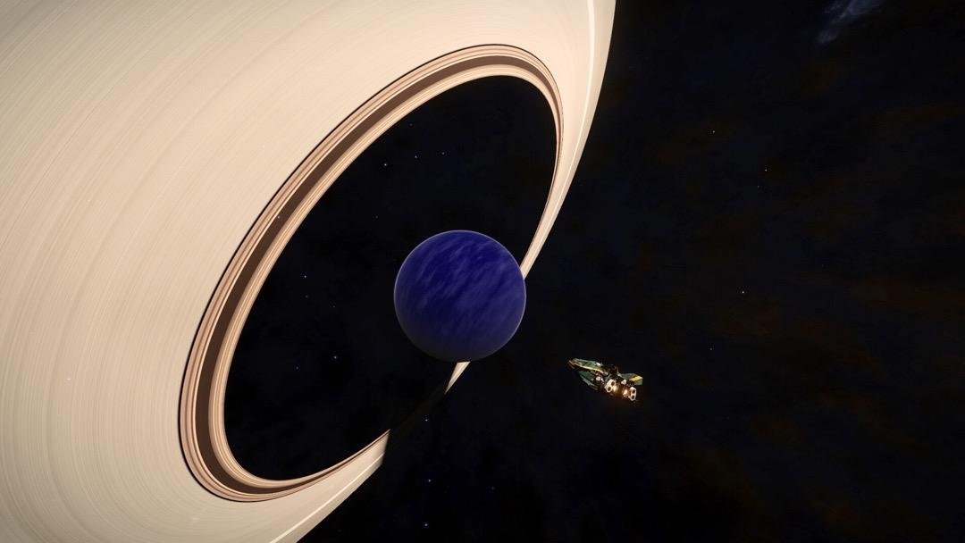 Ein Wasserplanet mit Ring.