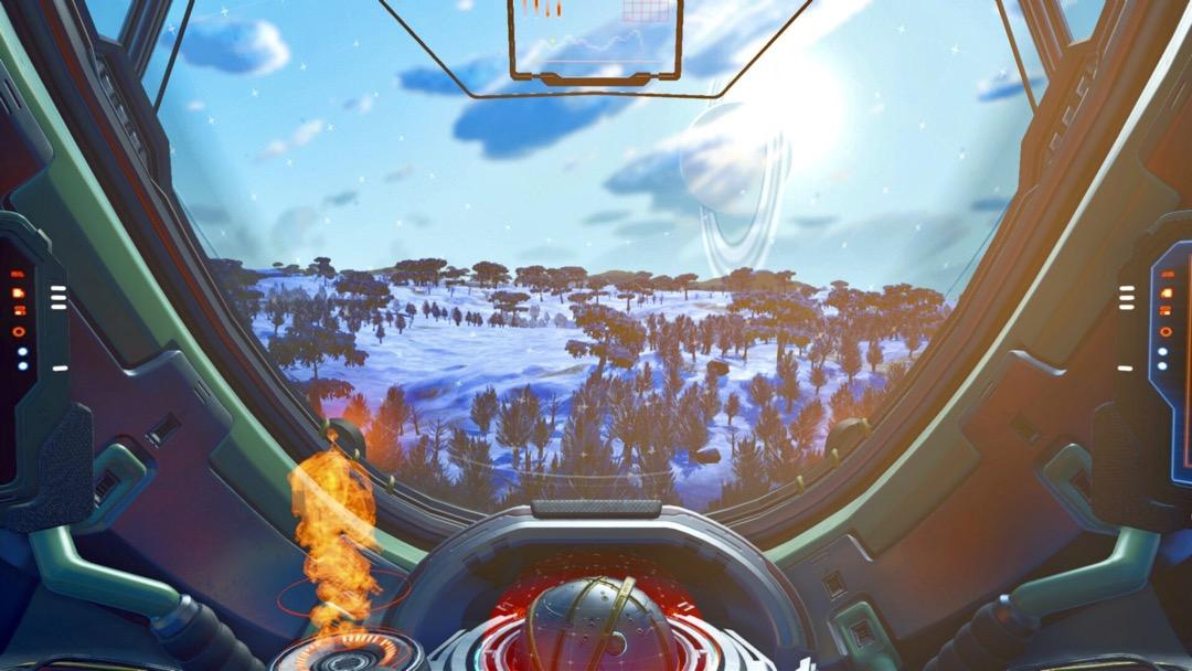 Ein Schneeplanet, durch die Frontscheibe des Mech Cockpits.
