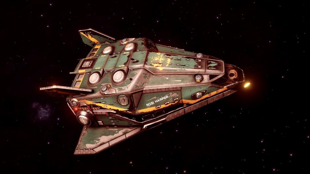 Die Mühle ist ja nur Schrott! Ein ziemlich mitgenommenes Raumschiff in der Totalen.