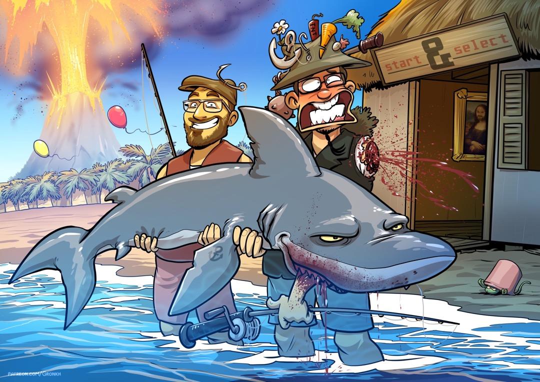 Zwei sexy Angler auf einer Insel mit Hai.