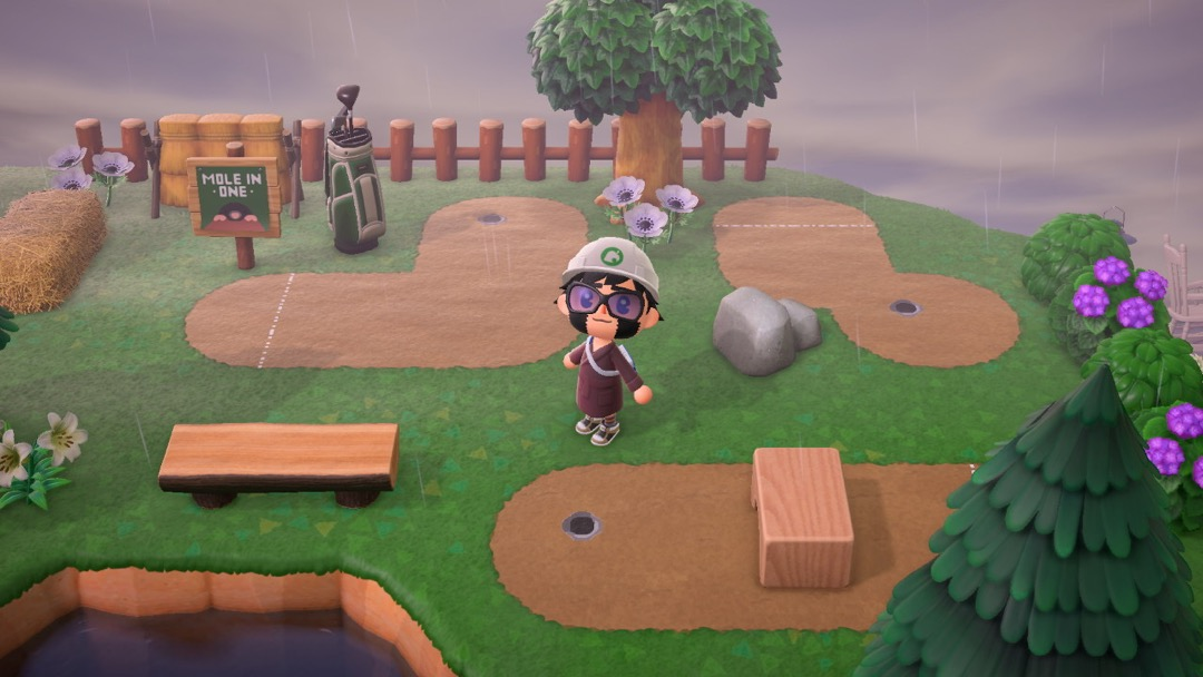 Ein Minigolf Platz in Animal Crossing.