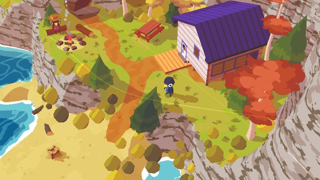 Protagonistin Claire, ein Vogel, steht vor einer Hütte auf der Insel.
