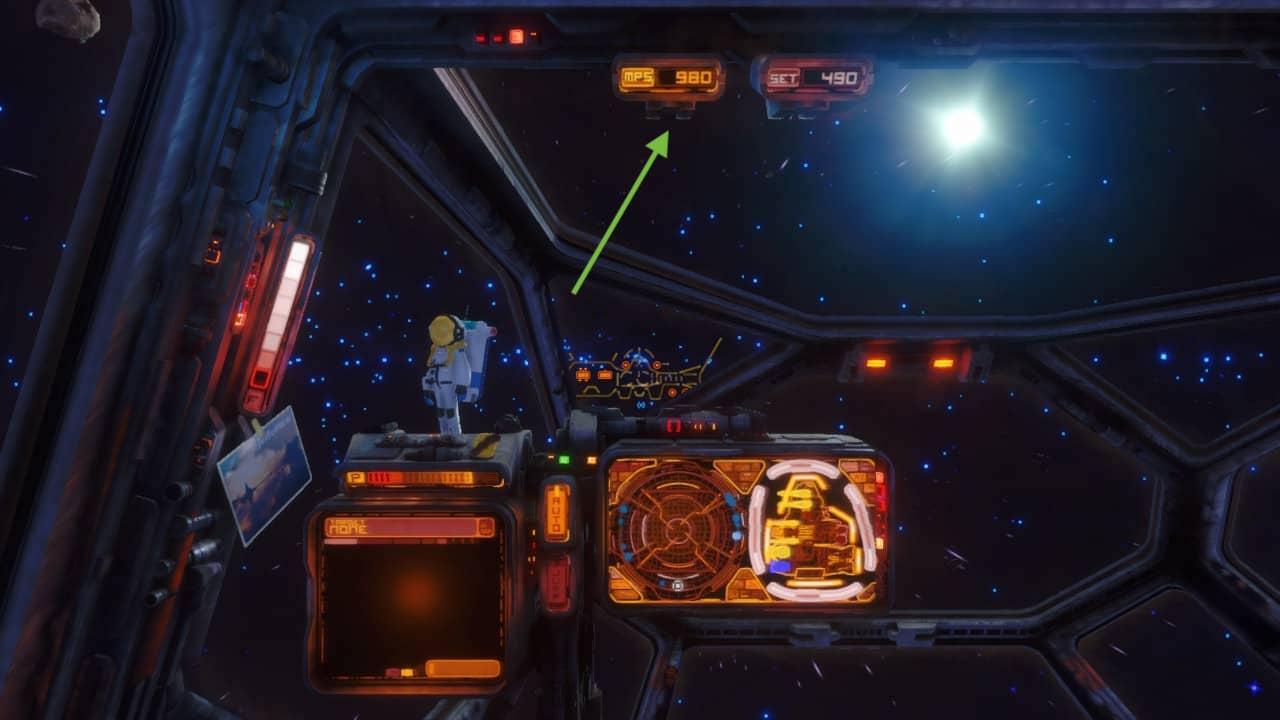 Die Cockpitansicht im Schiff Mattock.