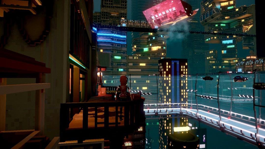 Blick vom Balkon in Cloudpunk