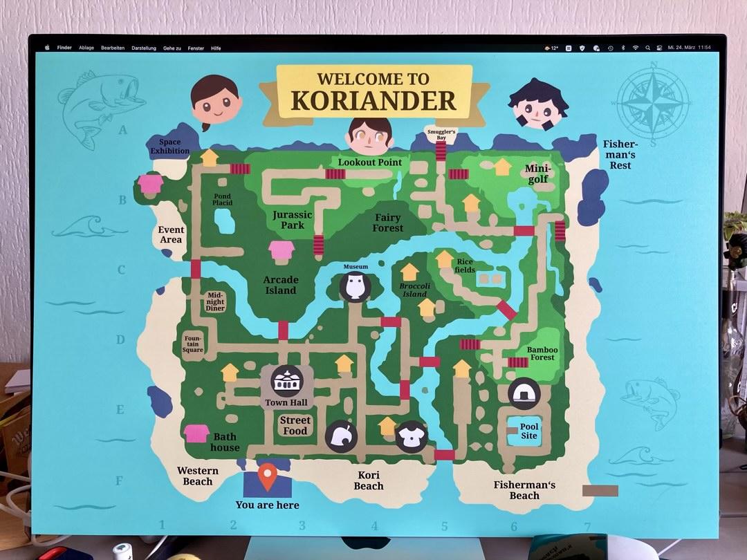 Die Landkarte unserer Insel in Animal Crossing